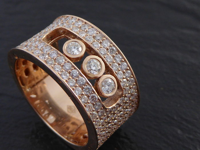 80872a21c0cf7 Rose gold diamond ring with floating diamonds - Catawiki