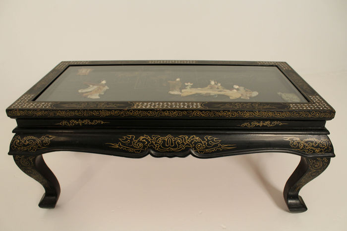 A Black Lacquered Coffee Table With Mother Of Pearl Inlay   China   Late  20th Century