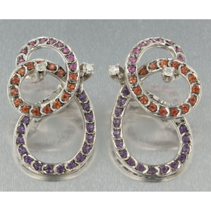 18 kt white gold clip-on earrings with orange, purple and pink amethyst and brilliant cut diamond - 3.4 cm high and 1.8 cm wide.