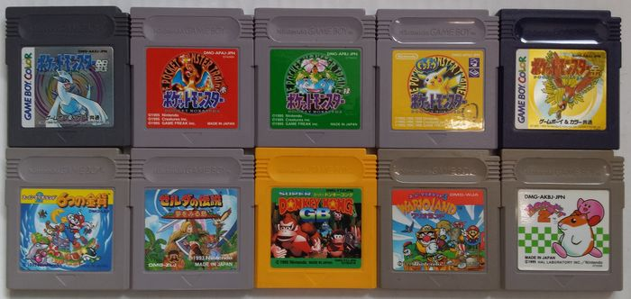 Lot of 10 Game Boy/Game Boy Color games (Japanese import): Mario, Zelda, Wario, Donkey Kong, Pokémon, Kirby