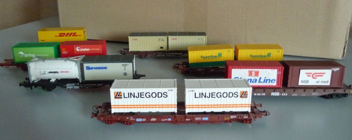 Lima/Roco/Liliput H0 - 7 containerwagens, 44 containers, containerkraan, blokpost, locloods en kolendepot