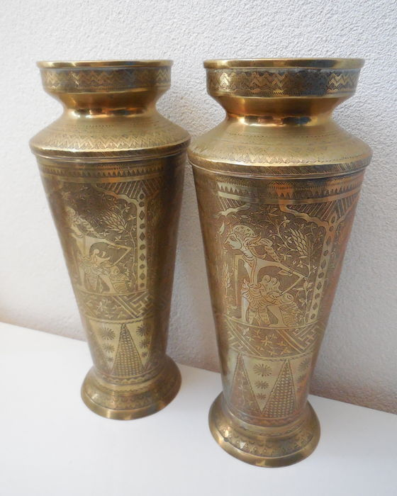 Two Large Brass Vases Java Indonesia Early 20th Century Catawiki