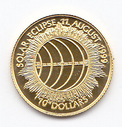 "Cook Islands - 10 dollars 1999 ""Solar eclipse 11 august 1999"" - Gold"