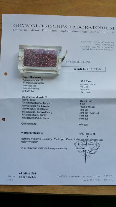Lot Robijnen, 52.8 ct