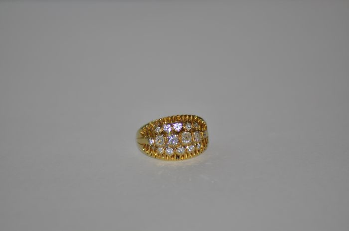 bague  18k  or jaune 16 diamant 1.2 carat