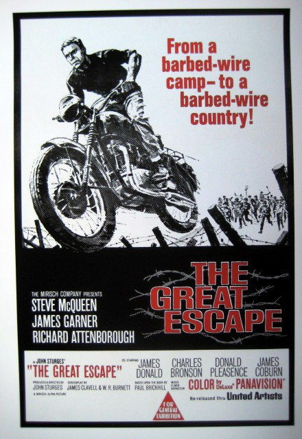 affiche poster the great escape avec steve mcqueen. Black Bedroom Furniture Sets. Home Design Ideas