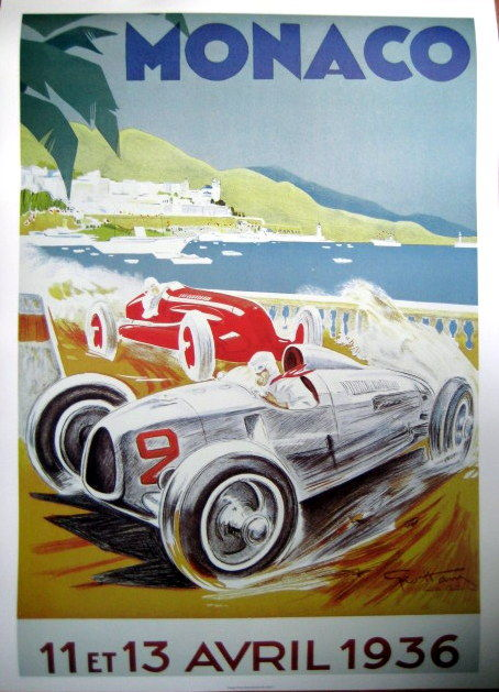 Decoratief object - Poster/Affiche Grand Prix Monaco - Ontw : Geo Ham - 1936 (1 items)