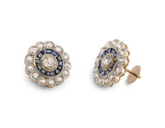 Old yellow and white gold stud earrings with diamonds 3.52 ct and sapphires 1.80 ct