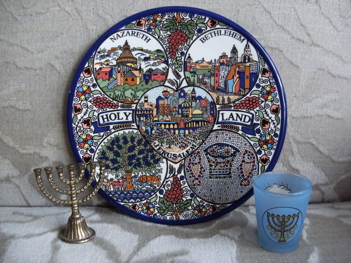 Ceramic wall plate Jerusalem small menorah and glass Israel - Second half 20th century : ceramic wall plate - pezcame.com