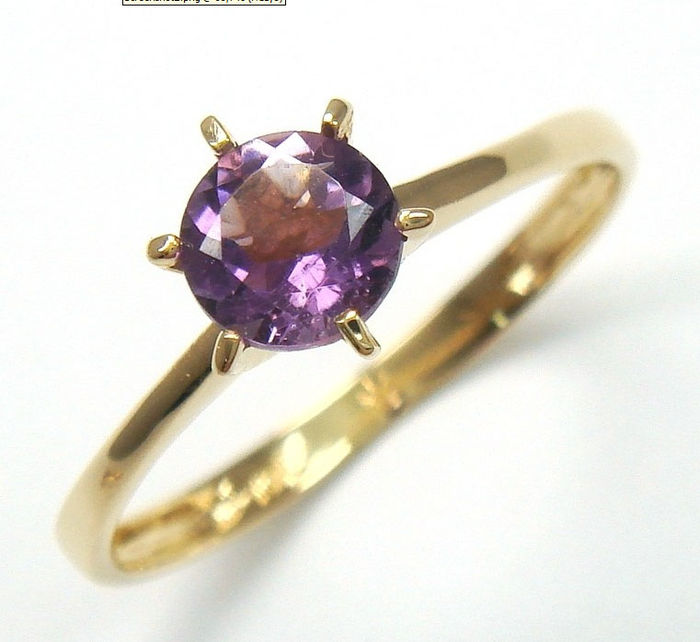 9 carat solid gold ring set with natural amethyst Catawiki