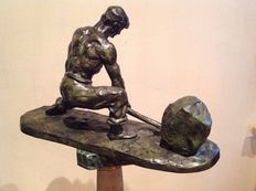 Thierry Jac. of Ryswyck (1911-1958) - Bronze sculpture - Stone labourer – c. 1930
