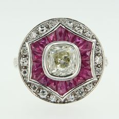 14 kt white gold ring with ruby ​​and Bolshevik - and eight side cut diamond in Art Deco style