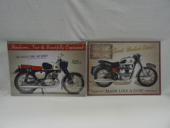 Metal advertising sign - Reproduction - Size 40 x 30 cm - Lot with 2  Motorcycle signs ( Honda and Royal Enfield ) - Catawiki