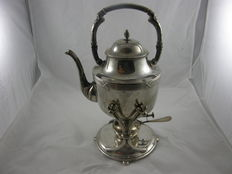 Silver bouilloire with cross band- and Art-nouveau decorations, Germany approx. 1910