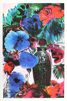 Ernst Fuchs - Large Blue Flowers - Colourful Bouquet - Large Bouquet of Blue Flowers