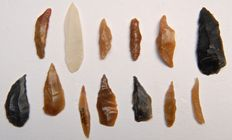 Lot of early Neolithic tools and points 25-45 mm (13)