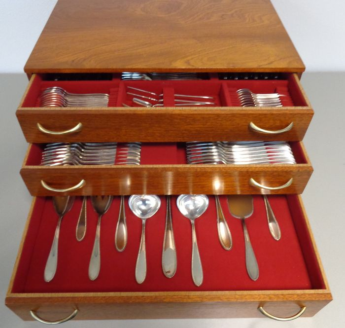 136 Piece Silver Cutlery Set In Wooden Box 12 Persons Wmf Germany Catawiki