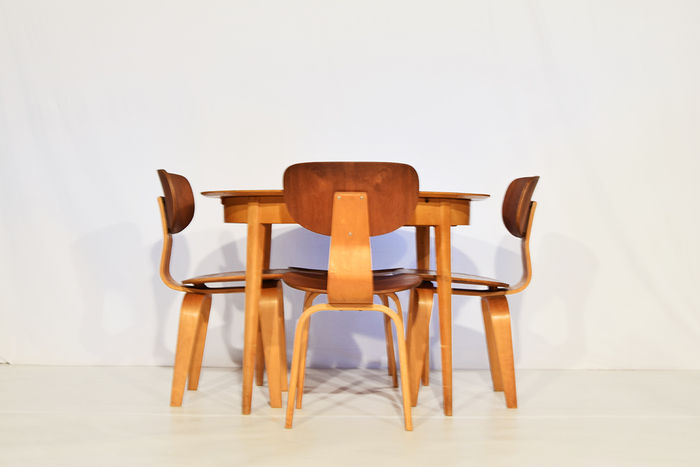 Cees Braakman for UMS Pastoe - Plywood and teak dining room set SB02 ...