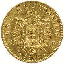 France - 20 Francs 1868 BB Napoleon III - gold