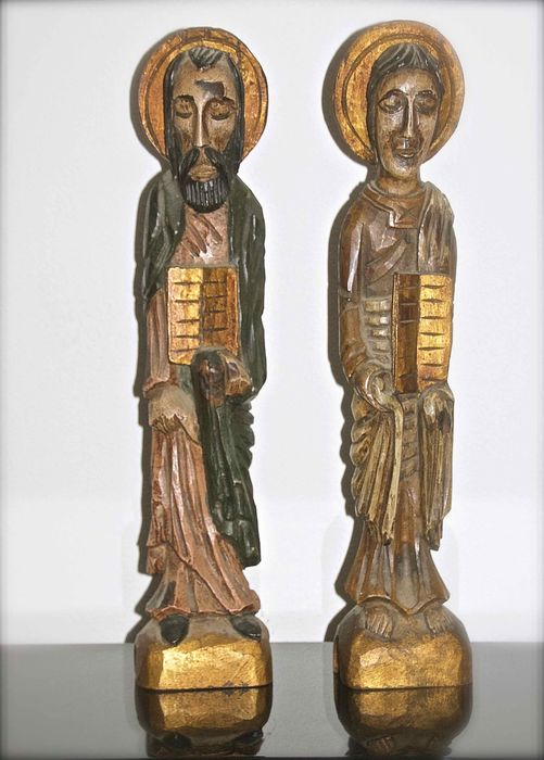 Saint statues wood carvings presumably mid th century
