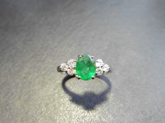 Platinum Emerald and Diamond Ring - size 54