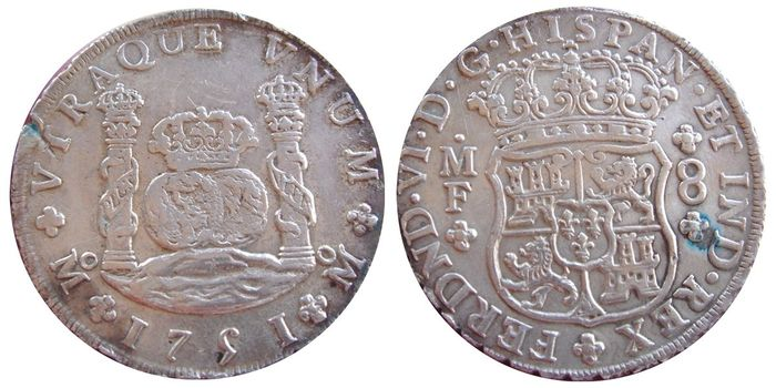 Spain - Ferdinand VI 8 reales silver coin. Mexico mint, 1751. Assayer M.F. Pillar type.