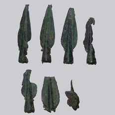 Bronze age - bronze depot find with 6 spearheads - 75/133 mm (7)