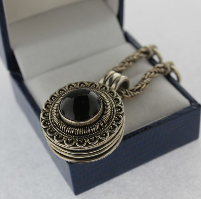 Silver pill box pendant with onyx on a short necklace catawiki silver pill box pendant with onyx on a short necklace aloadofball Gallery