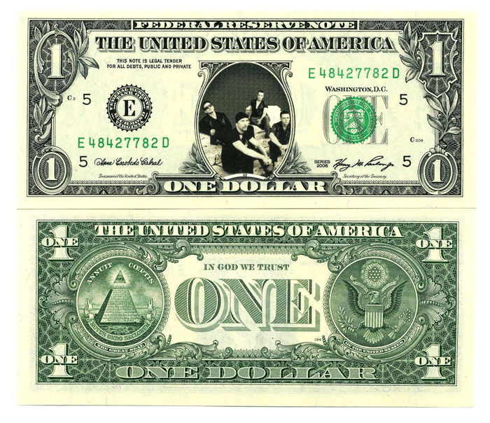 U2- 1$ dollar note Original