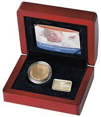 """Netherlands – 50 euro 2004  """"Birth coin""""   with certificate in cassette  gold"""