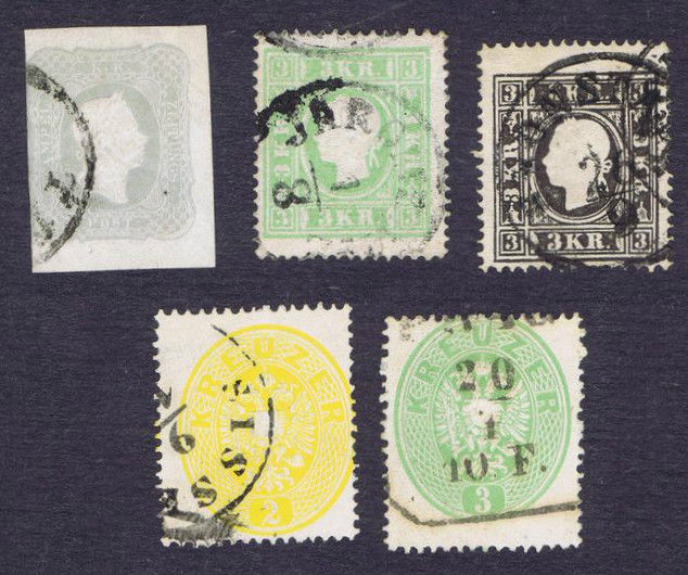 Austria 1858/1863 - Selection of Yvert 12, 13, 22, 23 and newspaper stamp 8