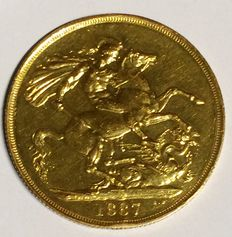 United Kingdom - 2 Pounds (Double Sovereign) 1887 Victoria - gold