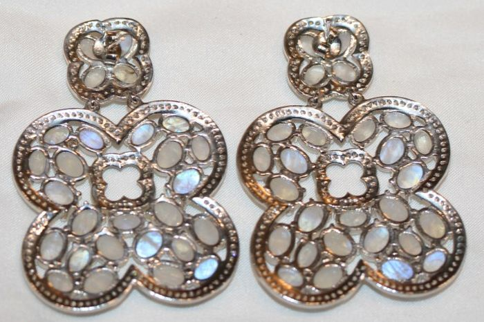 Silver evening wear earrings with moonstone and white ...