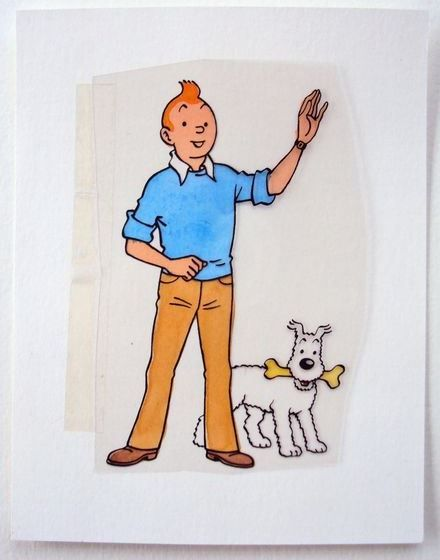 Studio Herge Handcoloured Blueprint Black Film Tintin And