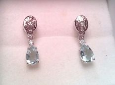White gold earrings with 1.80 ct Aquamarines and 0.30 ct diamonds