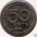 "Trinidad and Tobago 50 cents 1972 ""10th Anniversary of Independence"""