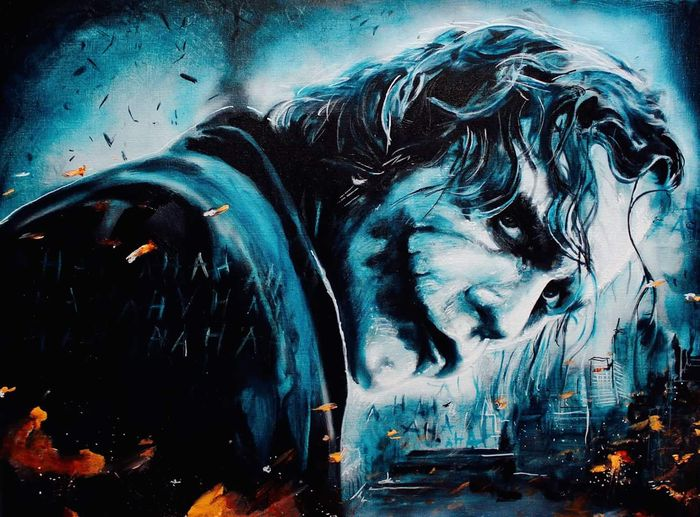 The Dark Knight - The Joker/ Heath Ledger - painted in reproduced painting - The Joker Explosion!