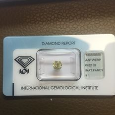 0.82 ct brilliant cut diamond Natural Fancy Intense Yellow P1