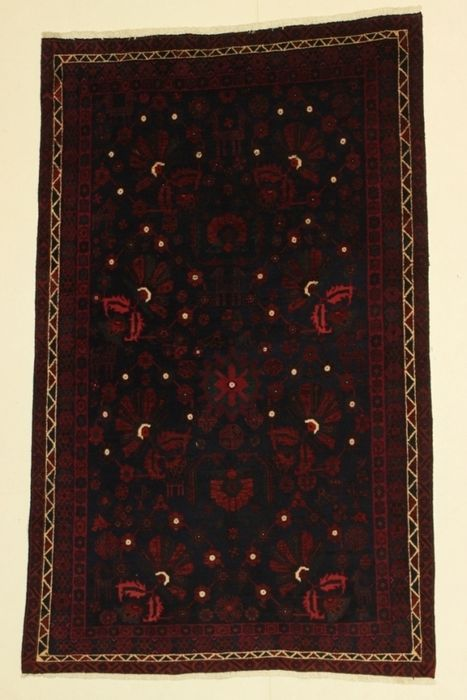 Kurdi (Iran) carpet measuring 234 x 146 cm, from the 1940s–1950s period.