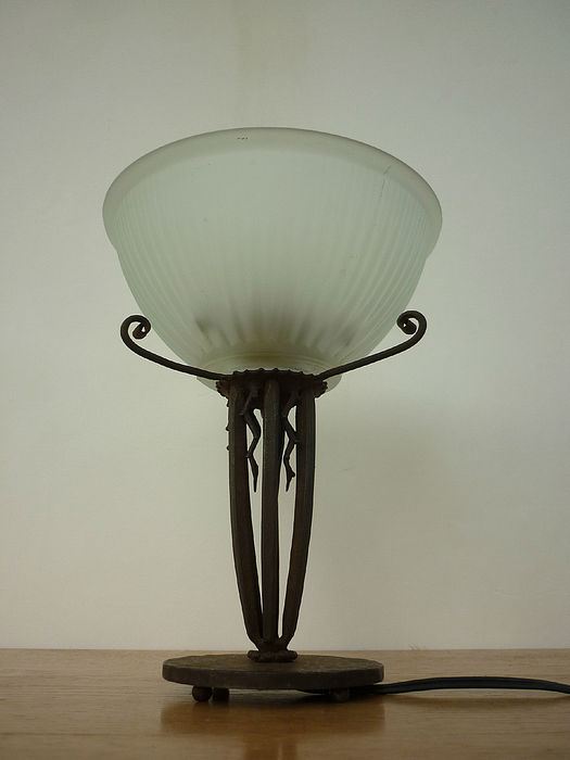 ROBJ Paris (Jean Born)   Wrought Iron Lamp Base With Glass Shade