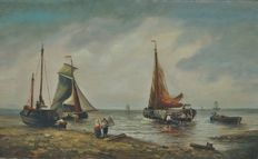 François Louis Francia (1772-1839) - Marine Dutch boats and fishermen