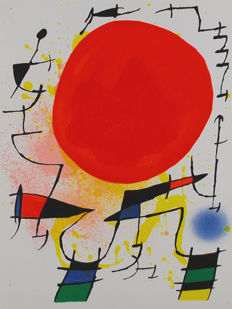 Joan Miró - 6 title: Le soleil rouge - Original lithograph V, VI, VII, VIII and X