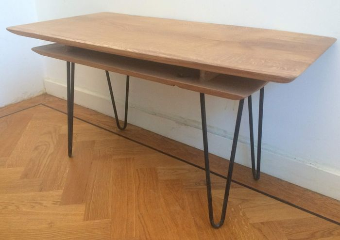 Eef design coffee table on vintage hairpin legs catawiki for Vintage hairpin table legs