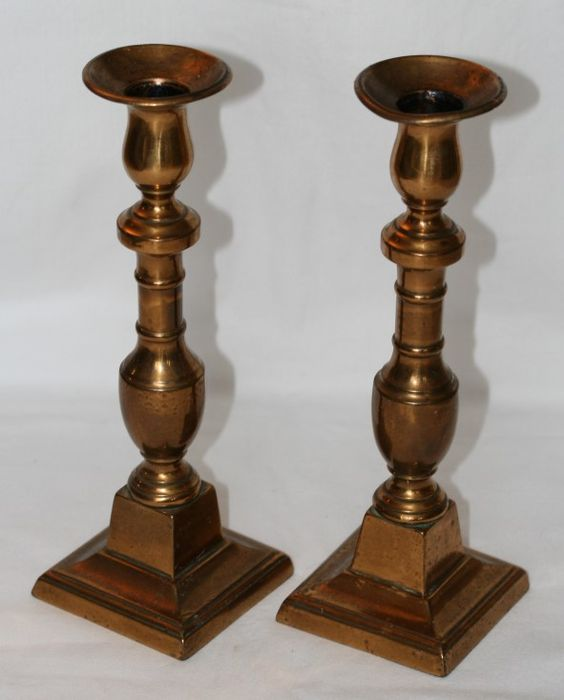 A Pair Of Victorian Bronze Candle Holders, England, Approx