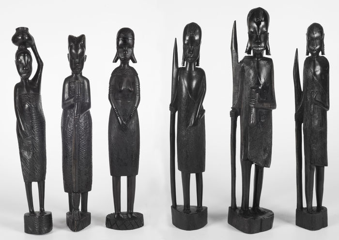 Lot of 6 large Massai statues, Kenya - 3 women and 3 men