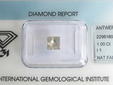 1.00 ct Princess-Cut Diamond Fancy Light Greyish Yellow  I1- IGI