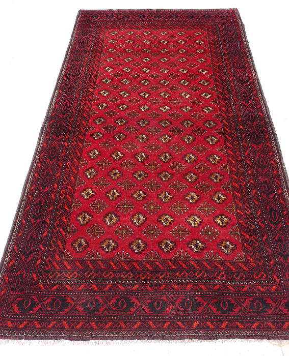 AUTHENTIC PERSIAN HAND-KNOTTED KORK WOOL TORKAMAN (TEKKE) RUG 210x120cm  circa 1970