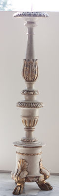 Wooden candlestick in Baroque style - Italy - ca. 1850