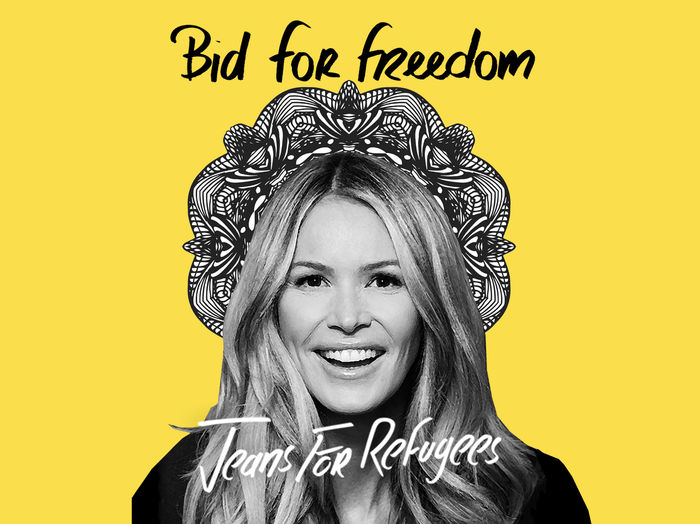 Elle Macpherson's 'Jeans for Refugees' hand painted by Johny Dar