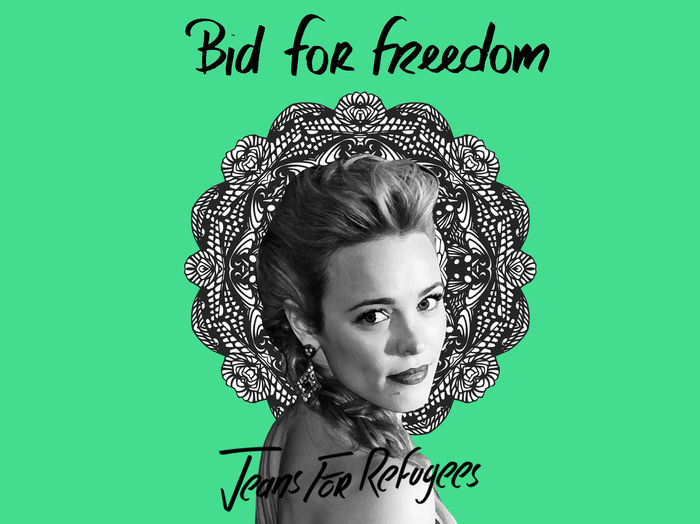 Rachel McAdams' 'Jeans for Refugees' hand painted by Johny Dar